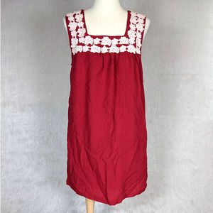 Entro Red Embroidered Floral Lace Sleeveless Dress